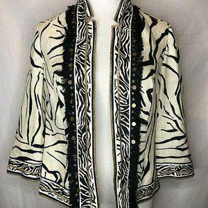 Chicos Linen Zebra Print Fringe Beaded Open Jacket